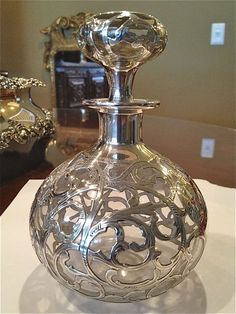 Art Nouveau Silver Overlay Perfume Bottle silver overlay on clear glass Excellent condition American circa 1900