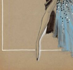 UNLV Libraries Digital Collections: Costume design drawing, black gown with light blue train, circa 1950s