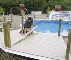 Image result for above ground pool deck over edge