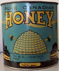 honey tin , the one we have is from the Owl Pen in Orillia Vintage Bee, Vintage Tins, Vintage Kitchen, Hives And Honey, Honey Bees, Bee Skep, Tin Containers, Vintage Packaging, Save The Bees