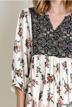 Peasant 3/4 Sleeve Floral Dress 65% Cotton, 36% Polyester Hand wash cold, No bleach, Hang dry