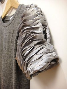 T-shirt with textured sleeve detail with layered fabric; sewing ideas; fabric manipulation #textiles