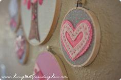 Valentine's Day heart embroidery hoop art #valentine #craft #idea