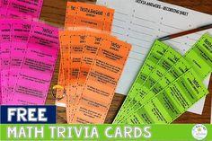 Math Trivia Cards