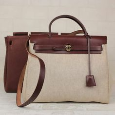 Authentic HERMES Herbag 2 in 1 Toile H and Brown Canvas 2Way Hand Bag  12322 a2ac88b5a31ba