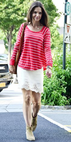 Katie Holmes headed to her office in a striped top, lace skirt, woven tote and suede boots.