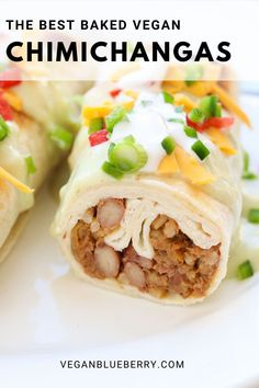 These baked vegan Chimichangas are a healthier twist on the traditional deep fried burrito. Topped with the most delicious creamy green chili sauce ever! Vegan Dinner Recipes, Delicious Vegan Recipes, Vegan Dinners, Veggie Recipes, Vegetarian Recipes, Healthy Recipes, Veggie Food, Vegan Lunches, Vegan Snacks