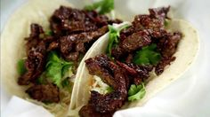 Korean Bulgogi Taco Recipe recipe from Diners, Drive-Ins and Dives via Food Network