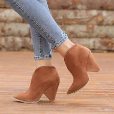 Merkel Süet Taba Renkli Kalın Topuklu Sivri Burun Bot  #brown #suede #heels #boots #western #kahverengi #süet #topuklu #bot #kovboy Tabata, Western Boots, Booty, Ankle, Shoes, Fashion, Moda, Swag, Zapatos