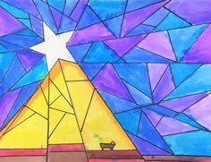 Nativity Star of Light Art Lesson for kids - Leah Newton Art Advent Art Projects, School Art Projects, Projects For Kids, Advent Ideas, Art Lessons For Kids, Art For Kids, Jesus In A Manger, Nativity Star, Star Template