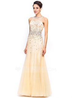 Trumpet/Mermaid Scoop Neck Floor-Length Tulle Charmeuse Lace Prom Dress With Beading Sequins (018051170) - JJsHouse