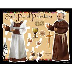 SALE St Pio of Pietrelcina Catholic saint digital download DIY print and cut paper doll