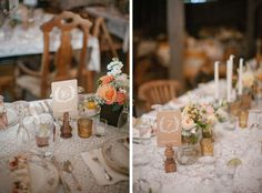 Love the wooden chairs, lace table covers, tall candles, china and florals