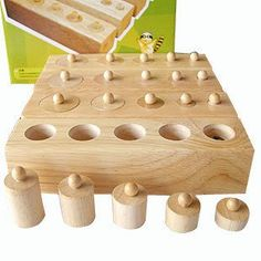 Candice guo! Hot sale wooden toy Montessori education cylinder socket baby teaching toy math development senses teaching aids-in Toys & Hobb...