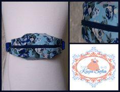 Blue rose insulin pump belt with royal blue elastic. by KaijaSofia