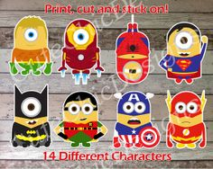 Minions Super Heroes Cutouts Digital File for Decorations, Centerpiece, Wall Decor and Iron On Transfer Tshirt