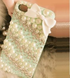 iPhone 5s case iPhone 5c case kawaii iphone case Bows iPhone 5 case Pearl Crystal Rhinestone iPhone 4 case Bling iPhone 4s Custom phone case by Bling001 on Etsy