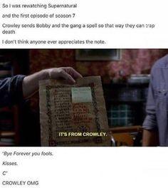 Uggggggh, Crowley, too! These fucking writers. Castiel, Winchester, Paranormal, Supernatural Memes, Super Natural, Superwholock, Johnlock, That Way, Sherlock