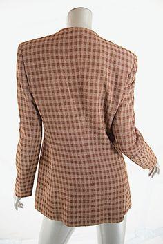 79cab7be782fc Giorgio Armani Armani Le Collezioni Brown tan plaid Blazer Plaid Blazer