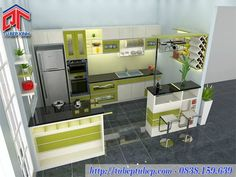 Tủ bếp đẹp thiết kế quầy bar tiện nghi, hiện đại