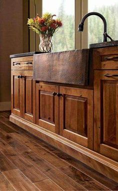90 Rustic Kitchen Cabinets Farmhouse Style Ideas this with stainless steel farmhouse sink with steel counter-tops and white-pickled top cabs; Farmhouse Kitchen Cabinets, Kitchen Redo, New Kitchen, Kitchen Dining, Rustic Cabinets, Kitchen Rustic, Awesome Kitchen, Island Kitchen, Beautiful Kitchen