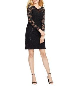 Lauren Ralph Lauren Scalloped Lace Dress | Bloomingdale's
