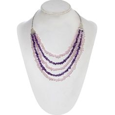 Galilea Rose Quartz, Amethyst Necklace (20-22) in Silvertone and Stainless Steel TGW 255.78 cts.