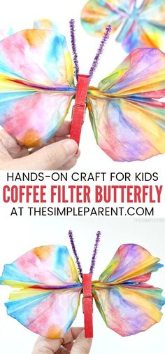 Coffee Filter Butterfly - This kids craft is easy to make with markers, clothespins, and water! It's fun for kids of all ages and pairs well with the Very Hungry Caterpillar book!  A simple art project with a spring twist, fun for preschoolers, kindergartners or even younger children with help.   #ad #MyFirstCrayola #painting #kidscrafts #forkids #butterflies #spring