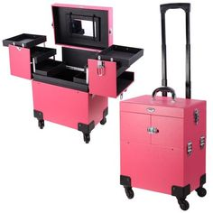 New AW Pro Rolling Makeup Case Artist Beauty Train Case Trolley Cosmetic Organizer Box Handle Mirror 4 Wheels online - Findhitstoday Makeup Case On Wheels, Rolling Makeup Case, Makeup Train Case, Makeup Box, Makeup Storage, Makeup Organization, Makeup Vanity Case, Gold Makeup, Pink Makeup