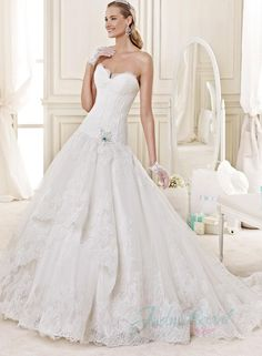 princess sweetheart neck lace tiered organza ball gown wedding dress