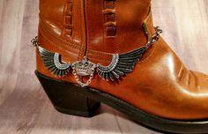 Steampunk boot bracelet Steampunk wing & by BulletsBeadsBaubles