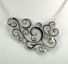 Swirly Black Shrinky Dink Necklace by craftasticity on Etsy, $12.00