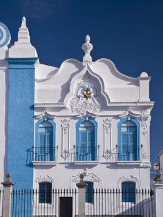 Alentejo Church    White painted buildings with details picked out in colour are a common sight in Alentejo, Portugal. This is a church in the town of Campo Maior.