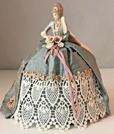 """Vintage Pincushion Porcelain Victorian Lady With Fan Half Doll 7 1/2"""" Tall Mint"""