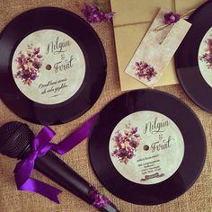 Plak Davetiye / Record Wedding invitation www.masalsiatolye.com #masalsiatolye #davetiye #weddinginvitation #vintage #plakdavetiye