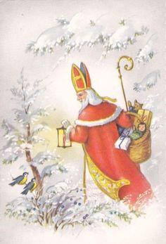 Oude getekende kaart Sinterklaas