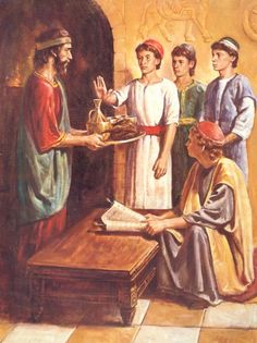 King Nebuchadnezzar had selected men from Judah to learn the language and literature of Babylon for a 3 year training course to qualify to serve in the King's Palace. Those chosen were to partake of Babylonian royal food and wine. Daniel refused to drink the wine and eat the meat, along with Shadrach, Meshach, and Abednego, they ate only pulse (veggies) and grains and were found to be far healthier than any of the other youth who consumed only the wine and meat.