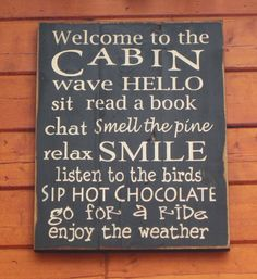 Large Wood Sign  Welcom to the Cabin  Subway Sign by dustinshelves, $35.00