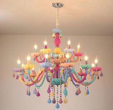 Online Shop Art Deco Cartoon Colourful Led Crystal Chandelier Lights Macaroon Princess Led Crystal Chandelier Crystal Chandelier Lighting Princess Chandelier