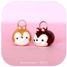 Polymer Clay Disney Chip and Dale Tsum Tsums by Oborochann