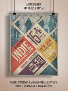 Grunge Indie Flyer template or poster template designed to promote any kind of music event, concert, festival, party or weekly event in a music club and other kind of special evenings. http://graphicriver.net/item/grunge-indie-flyer/10922043
