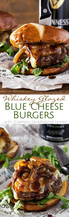 Whiskey Glazed Blue Cheese Burgers with Guinness Caramelized Onions Recipe via The Chunky Chef quot;These blue cheese burgers are brushed with a homemade whiskey glazed, topped with Irish cheese, and smothered in Guinness caramelized onions! The Best Burger, Good Burger, Hamburger Recipes, Beef Recipes, Cooking Recipes, I Love Food, Good Food, Yummy Food, Caramelized Onions Recipe