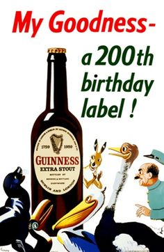 My Goodness a birthday label! by Gilroy 1959 England - Vintage Poster Reproductions. This vertical English wine and spirits poster features a group of animals and a zoo keeper looking at a giant beer bottle. Old Wine Bottles, Recycled Wine Bottles, Vintage Ads, Vintage Posters, Guinness Advert, Sous Bock, English Wine, British Beer, Premium Beer