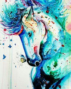 Watercolor horse drawing