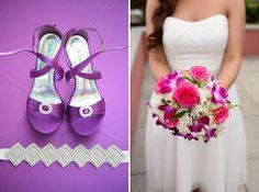 bright modern pink & purple bouquet   A modern, intimate purple wedding in Northern Virginia   Images: Stephanie Kopf Photography