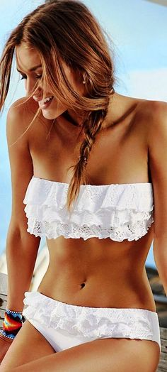 5 Top Summer Trends 2014. Swimsuits and Bikinis. Lovely white swimwear ruffle bandeau bikini top