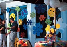Retro Symbols & Flowers.  Enhance your party with these colorful Retro…