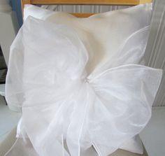 "White organza on white suedette; 14"" x 14"" square cushion"