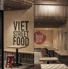 marketing - Restaurant Branding & Marketing -restaurant marketing - Restaurant Branding & Marketing - BUN ME Vietnamese Street Food Restaurant by StudioMKZ Sydney Australia fastfood restaurant interiors 1 Wood Chipping: Onion Des. Vietnam Restaurant, Pho Restaurant, Fast Casual Restaurant, Restaurant Concept, Fast Food Restaurant, Restaurant Branding, Chinese Restaurant, Restaurant Marketing, Vietnamese Street Food
