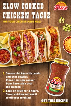 Mid-week slow cooker recipes don't get any tastier, or easier than with Pace®. Tap the Pin for the full recipe. collection ad inspiration about dinner recipes Chicken Taco Recipes, Mexican Food Recipes, Dinner Recipes, Chicken Tacos, Tofu Tacos, Bbq Chicken, Slow Cooker Recipes, Crockpot Recipes, Cooking Recipes